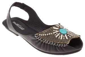 Matisse Sandals Hand-made Beaded Leather Black Flats