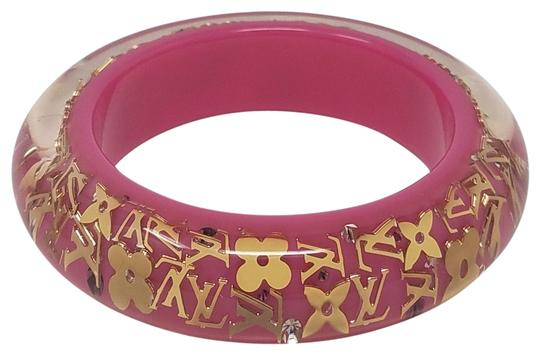 Preload https://item4.tradesy.com/images/louis-vuitton-gold-pink-gold-tone-lv-logo-floral-monogram-inclusion-bangle-bracelet-10521493-0-7.jpg?width=440&height=440