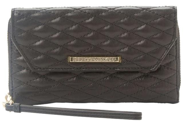 Item - New 'monroe' Quilted Tech Wallet Black Leather Wristlet
