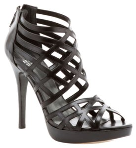 Stuart Weitzman Brand New Never Worn Leather Caged Black Sandals