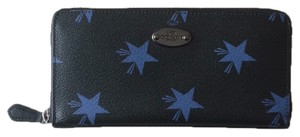 Coach Coach Canyon Navy Blue Star Accordion Zip Wallet