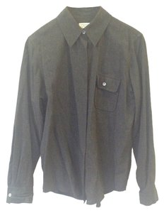 Ann Taylor LOFT Work Dress Shirt Rayon Comfortable Top Charcoal Gray