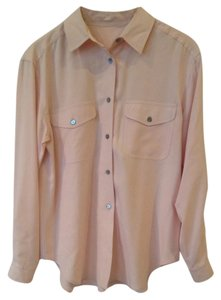 Allison Taylor Silk Petite Vintage Basic Button Down Shirt Beige Pink