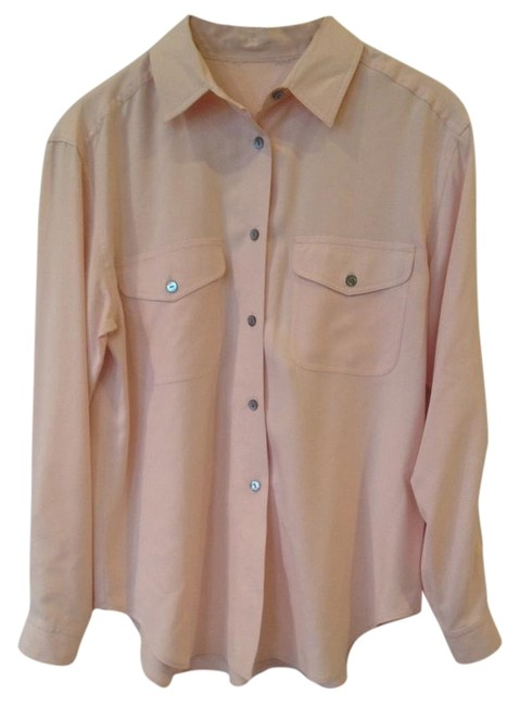 Allison Taylor Silk Petite Vintage Basic Solid Button Down Shirt Beige Pink