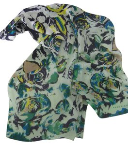 Anne Klein Anne Klein 100% Silk Scarf Watercolor Blue Green Abstract Floral Pattern Long