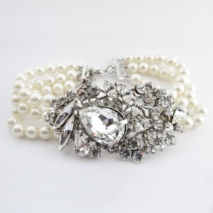 Elegance By Carbonneau Pearl And Rhinestone Wedding Bracelet
