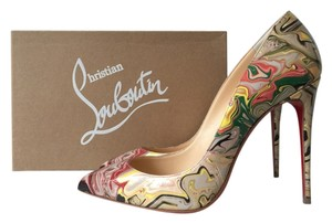 Christian Louboutin Pigalle Follies 100 100mm Marble Apt Patent Leather Multicolor Red So Kate 120 Yellow, Red, Green Pumps