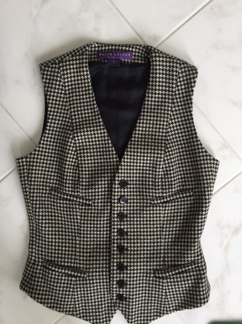 Ralph Lauren Collection Houndstooth Button Down Shirt Black/Cream