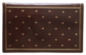 Vintage Brown 1960s Leather Wallet Check Book with Gold Accents