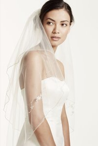 David's Bridal David's Bridal Two Tiered Veil With Beaded Metallic Edging