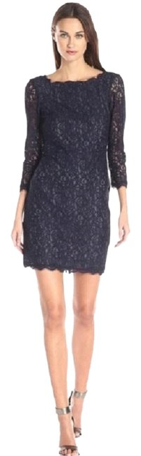 Preload https://item1.tradesy.com/images/adrianna-papell-black-new-women-s-lace-with-34-sleeves-scallop-edging-above-knee-cocktail-dress-size-10523320-0-1.jpg?width=400&height=650