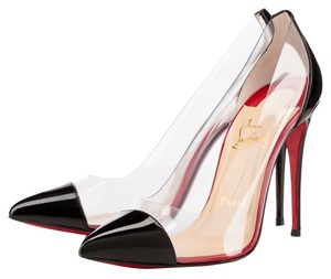 Christian Louboutin Patent Patent Leather Pvc Stiletto Cap Toe Pointed Toe 37 7 New Sexy Red Sole Debout Black, Clear Pumps