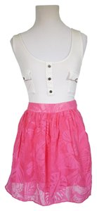 Lilly Pulitzer Mini Designer Lined Sheer Mini Skirt Hot Pink