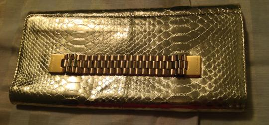 Michael Kors Made In Italy Chain Link Handle Snakeskin Texture Leather Gold Clutch