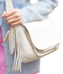 Coach White Fringe Dakotah 34396 Feather Cross Body Bag