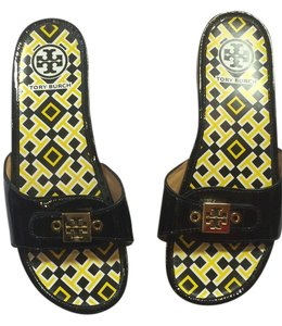 Tory Burch Calf Black Patent Mules