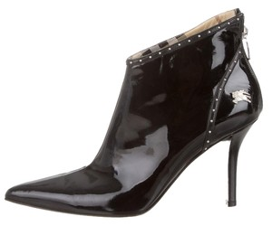 Burberry Patent Patent Leather Stiletto Pointed Toe Ankle Silver Silver Hardware Logo Monogram New 37.5 7.5 Nova Check Plaid Black Boots