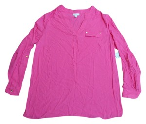Charter Club V-neck Shirt Gold Gold Hardware Plus-size Plus Size Longsleeve Long Sleeve Top Pink
