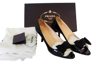 Prada New Designer Bow Peep Toe Black Pumps