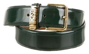Moschino Green leather Moschino gold monogram belt XS S Small