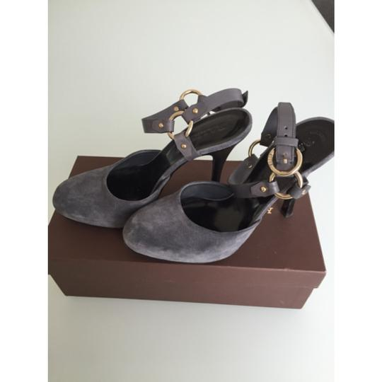 Bally Suede Rocker Studded Gray Sandals