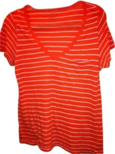 Old Navy In Super Soft V-neck 8 M Nautical V-neck 8 Medium M Med Bright Light Summer Beach T Shirt Tangerine Orange with White Stripe