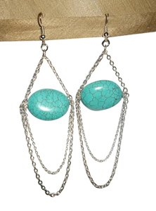 Other Natural Turquoise Chandelier With Silver Chains Earrings