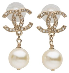 Chanel Chanel Classic CC Gold Pearl Wedding Earrings