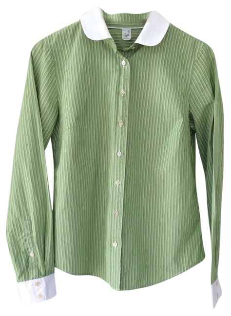 Preload https://item5.tradesy.com/images/jcrew-striped-women-s-favorite-light-green-and-white-button-down-top-size-6-s-10525144-0-1.jpg?width=400&height=650