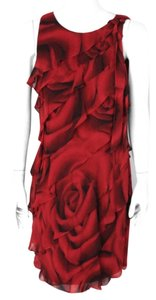 White House | Black Market Red Cute Floral Ruffles Dress