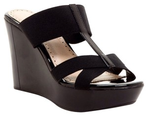 Charles by Charles David Wedge Flexi T-strap Black Wedges