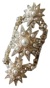 Chanel Chanel Gold Pearl Crystal Stars Statement Ring with 2 CC Logos Size/52