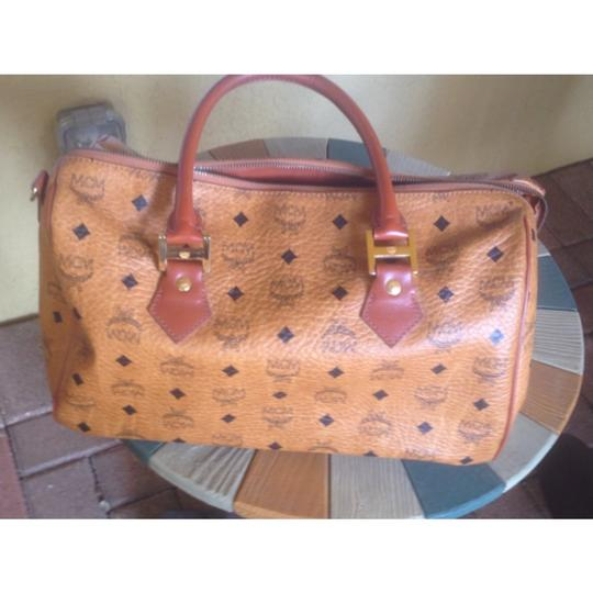 MCM Munich Boston Visetos 1980's Satchel in Cognac