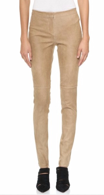 Theory Suede Beige Leather Skinny Pants Dusty Sand Image 1