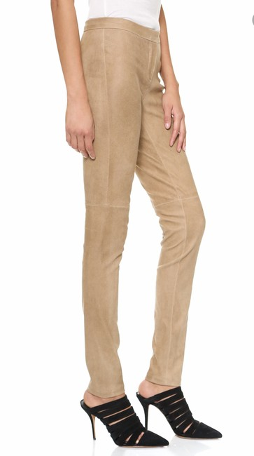 Theory Suede Beige Leather Skinny Pants Dusty Sand Image 2