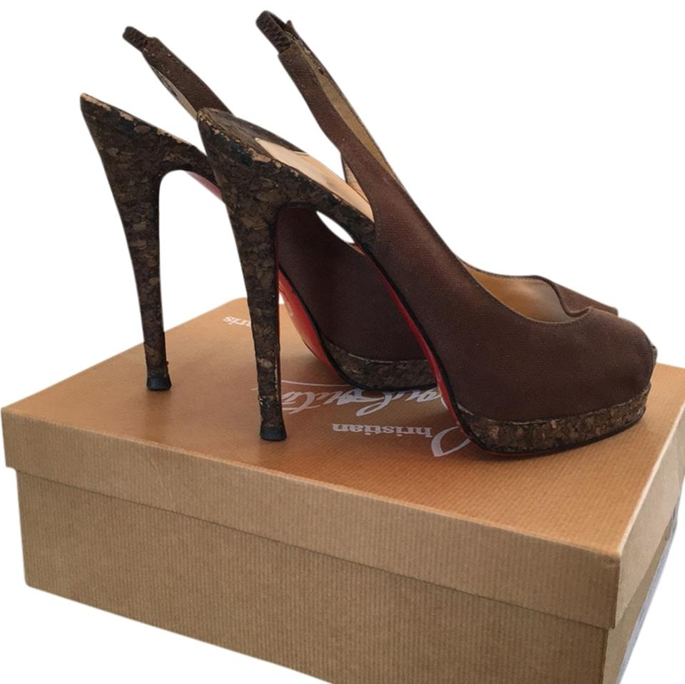Christian Louboutin Brown Material Caff and Corkscrew Sandalo Tessuto Olona Caff Material Platforms fdf6c0