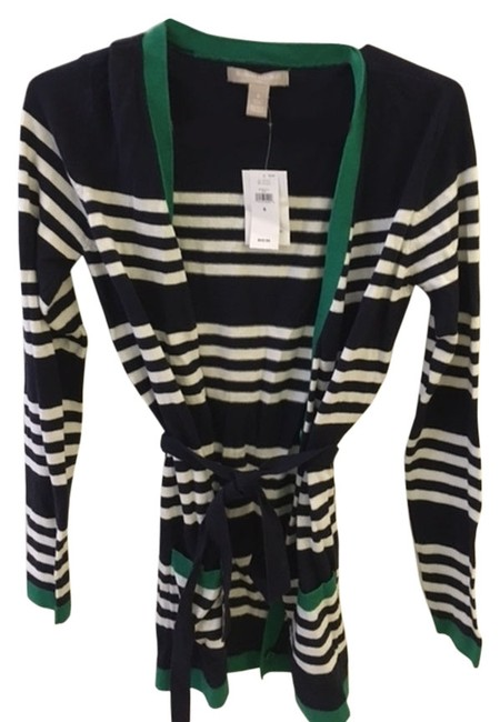 Item - Navy Blue with White Stripes and Green Trim Cardigan Size 4 (S)