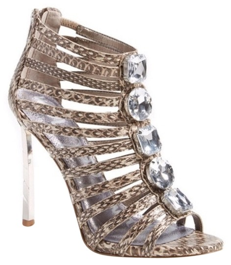 Sam Edelman Jeweled Gladiator Sepia Snakeskin Sandals