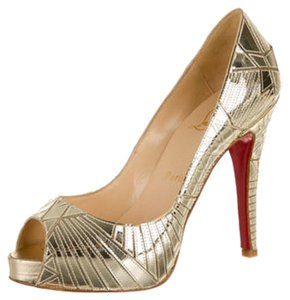 Christian Louboutin Metallic Peep Toe Platform Lasercut Gold Pumps