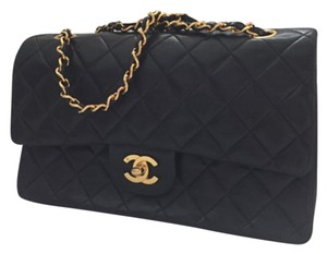 Chanel 2.55 Lambskin Double Flap Quilted Gold Shoulder Bag
