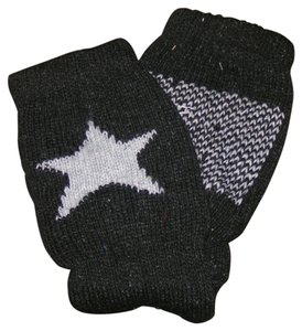 Black & Grey Fingerless Star Gloves Free Shipping