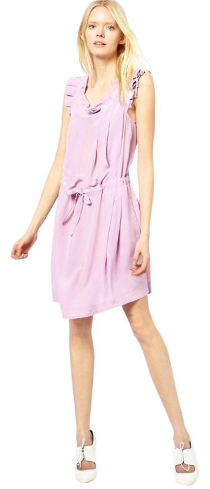 f142a5e99f See by Chloé Purple Silk with Ruffle Sleeves and Tie Waist Knee Length  Short Casual Dress Size 8 (M)