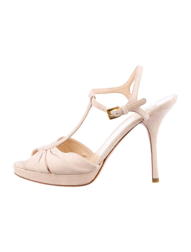 8bcf0d4cd26 Prada T Strap Suede Strappy Open Toe Ankle Strap Light Pale Pink Sandals  Image 5. 123456