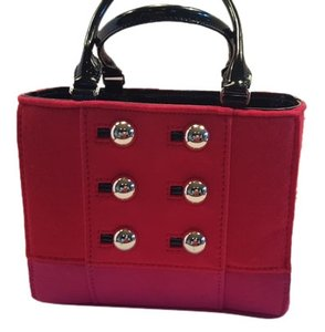 Kate Spade Tote in Red and Hot Pink with Gold Buttons and patent black handles