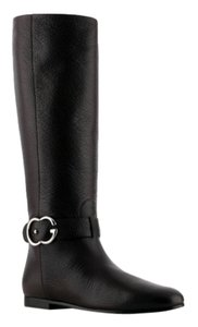 Gucci Riding Gg Logo Silver Black Leather Black Riding Boots