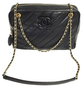 Chanel Lambskin Quilted Diagona Vintage Handbag W Logo Vintage Cross Body Bag