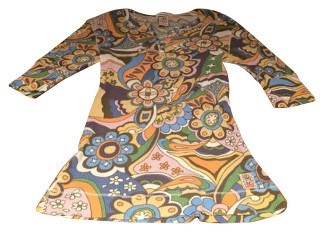 Lucky Brand Jeans Color Rainbow Paisley Flower 3/4 Shirt Blouse Button Button Down Tunic