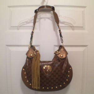 Gucci Signature Logo Canvas Leather Hobo Bag
