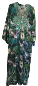 Green with floral print Maxi Dress by TAJ by Sabrina Crippa Caftan 100% Silk Caftan