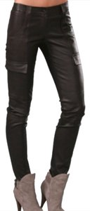 Theory Leather Skinny Cargo Pants Deep Chocolate